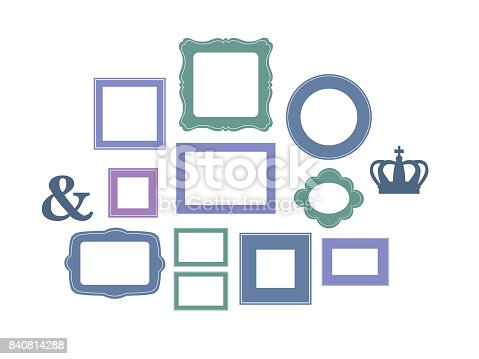 Set of cartoon picture frames organized as gallery wall for Picture frames organized on walls