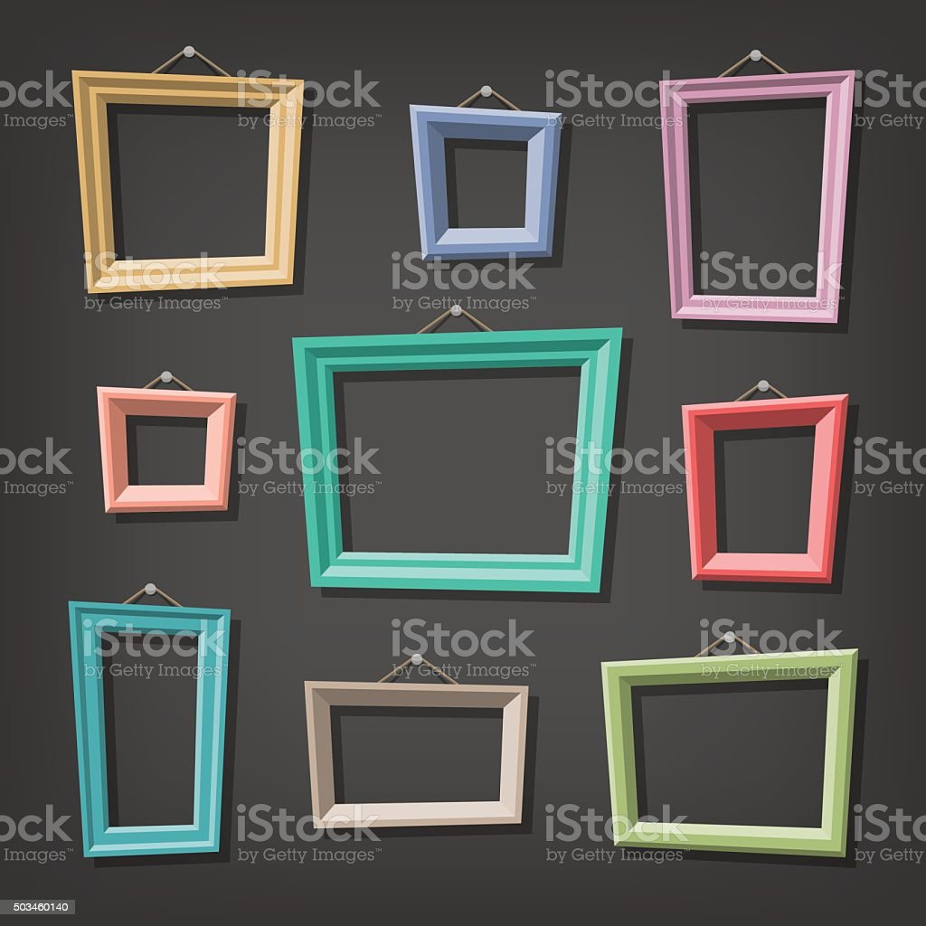 Set of cartoon picture frames vector art illustration
