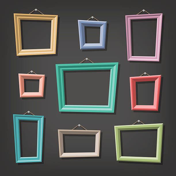 bildbanksillustrationer, clip art samt tecknat material och ikoner med set of cartoon picture frames - painting wall