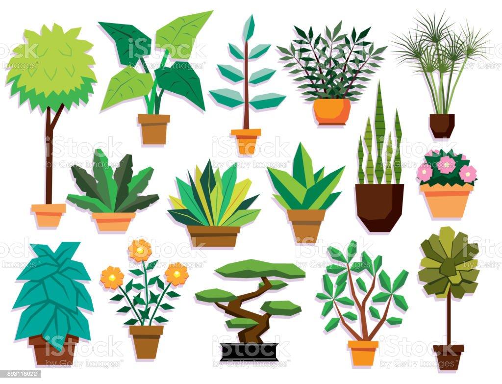 Ilustraci n de conjunto de dibujos animados plantas for Diferentes plantas ornamentales
