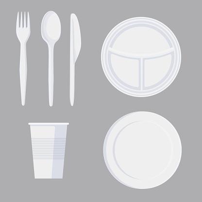 Set of cartoon plastic tableware in minimalist style isolated on white