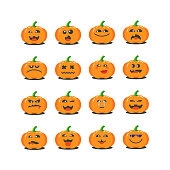 set of colored cartoon pumpkins icons for Halloween with different emotions