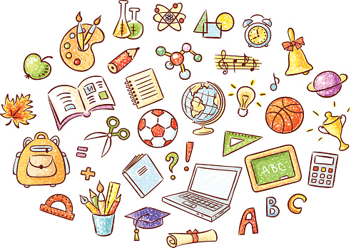 Set Of Cartoon School Things Stock Illustration - Download Image ...