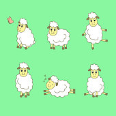 Funny cartoon sheep. Set of sheep. Vector illustration.
