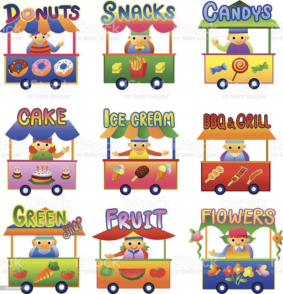 Set of Cartoon Shops. royalty-free stock vector art