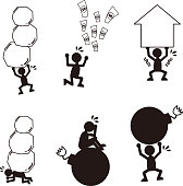 A set of cartoon silhouettes illustrations depicting debt burden and stress.