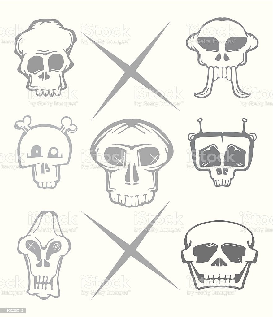 set of cartoon skull isolated on white royalty-free stock vector art