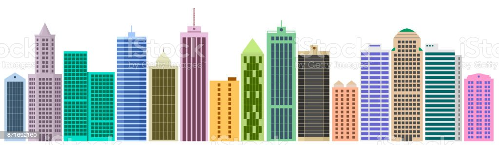 set of cartoon skyscrapers stock vector art more images of rh istockphoto com skyscraper silhouette vector skyscraper line vector