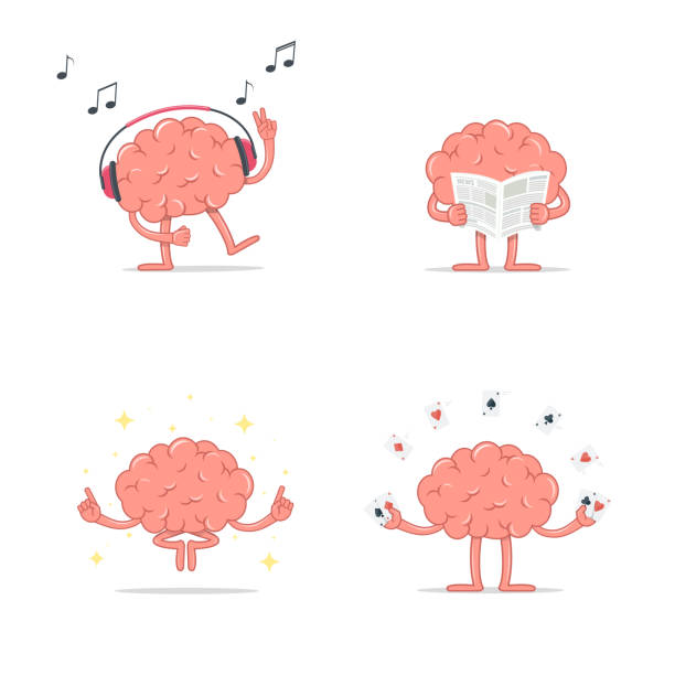 Set of cartoon smart brain relax. Listen music. Meditation. Reading newspaper. Play gambling cards. vector art illustration