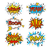 Background in pop art style. Retro colorful comic speech bubbles set with halftone shadows. BANG, WOW, YEAH, BOOM, POW