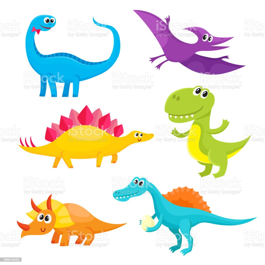 Set of cartoon style cute and funny smiling baby dinosaurs vector art illustration