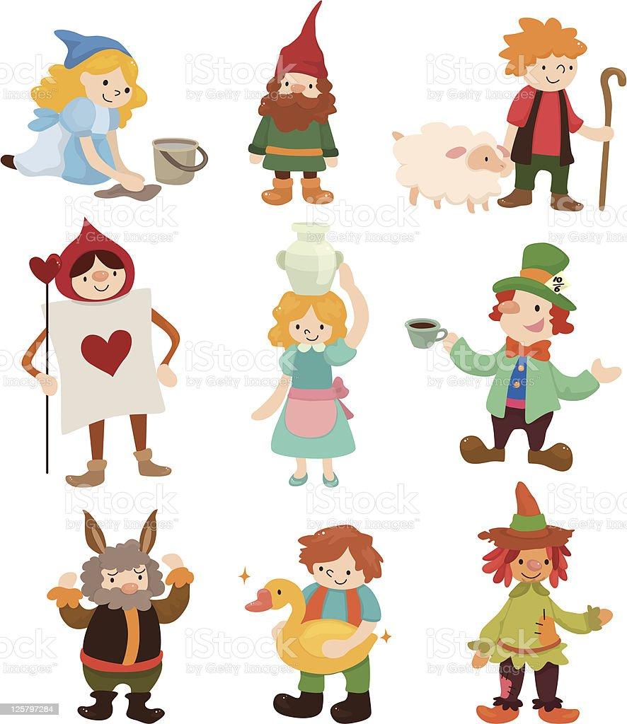 Conjunto de iconos de la historia de dibujos animados - ilustración de arte vectorial