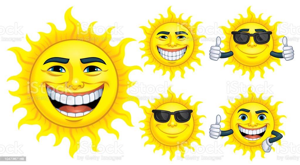 Satz von Sonne Comicfigur mit 5 Ausdrücken, isoliert in weißen Background_ Vektor-Illustration EPS 10 – Vektorgrafik