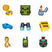 Set of cartoon survival game items - camping equipment