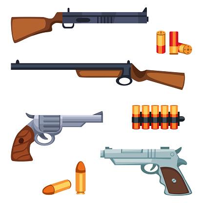 Set of cartoon survival game items - firearms shotgun, revolver, pistol