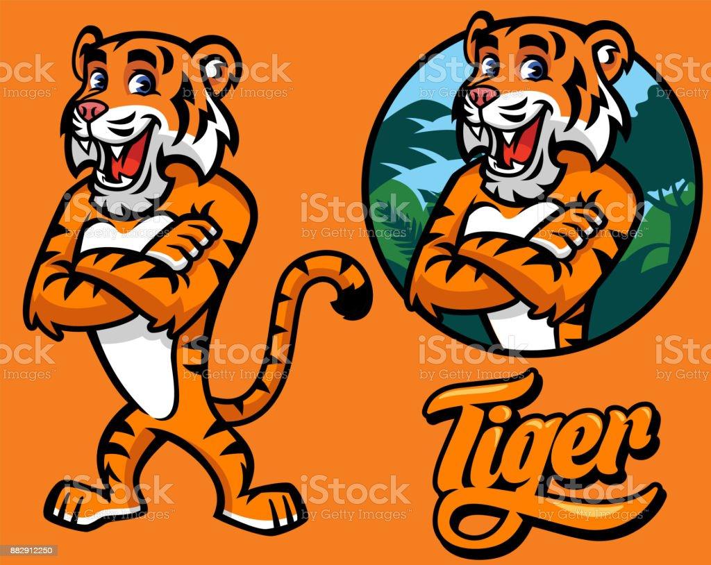 set of cartoon tiger character vector art illustration