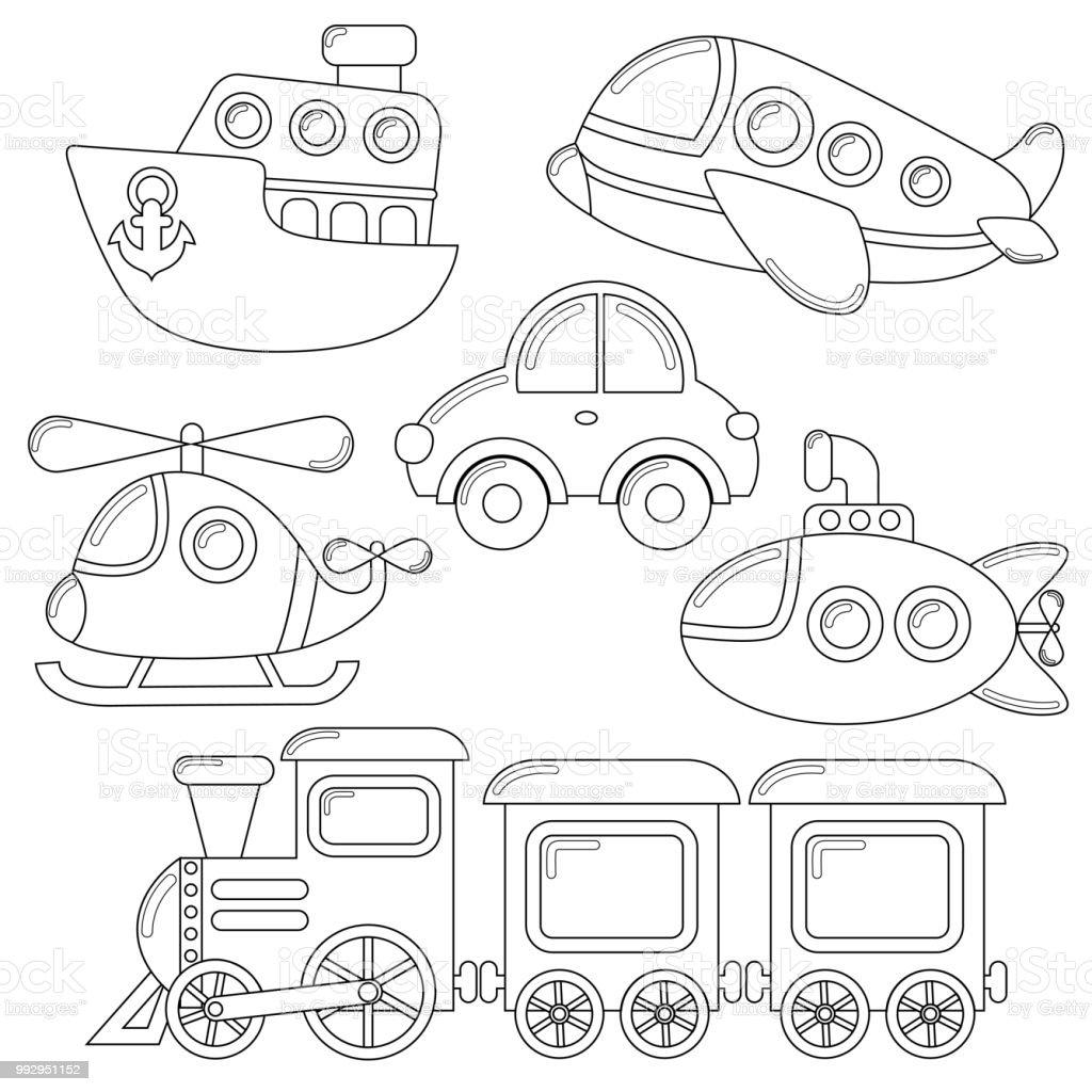 トランスポートの漫画アイコンのセットです車や潜水艦船飛行機