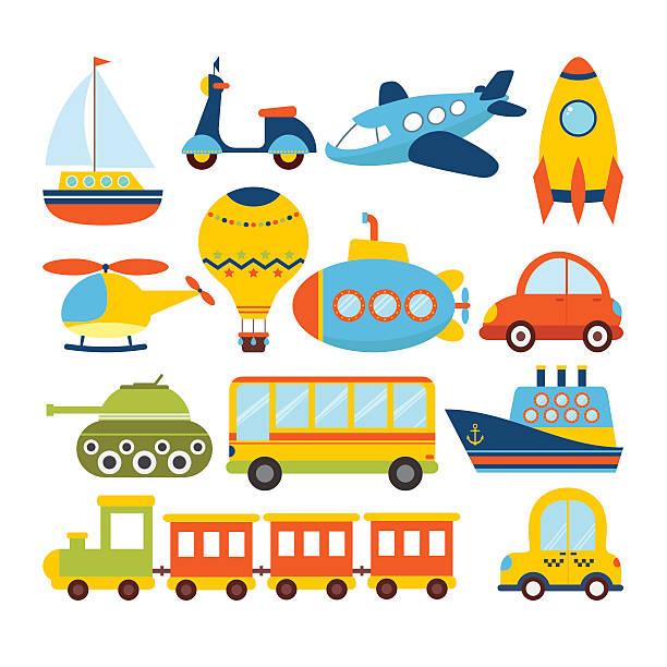 set of cartoon transport. transportation theme - cartoon kids stock illustrations, clip art, cartoons, & icons