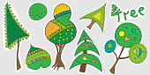 A set of cartoon tree stickers. Baby vector illustration of trees, christmas tree, bush, inscription tree. Stickers with nature and forest for children.