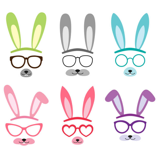 Set of cartoon vector bunny ears Set of cartoon vector bunny and rabbit ears and glasses for easter animal costume stock illustrations