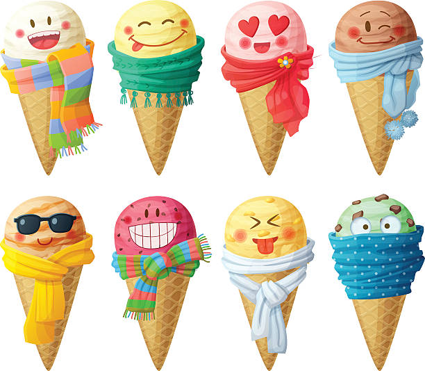 cartoon food drink cream vector icons isolated background ice clip illustrations graphics cartoons clipart scoops scarf smiling faces characters funny