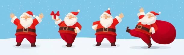 stockillustraties, clipart, cartoons en iconen met set van cartoon vector illustraties van de kerstman. gelukkige kerstman met geschenk, tas met cadeautjes, zwaaien en groet - cadeau sinterklaas