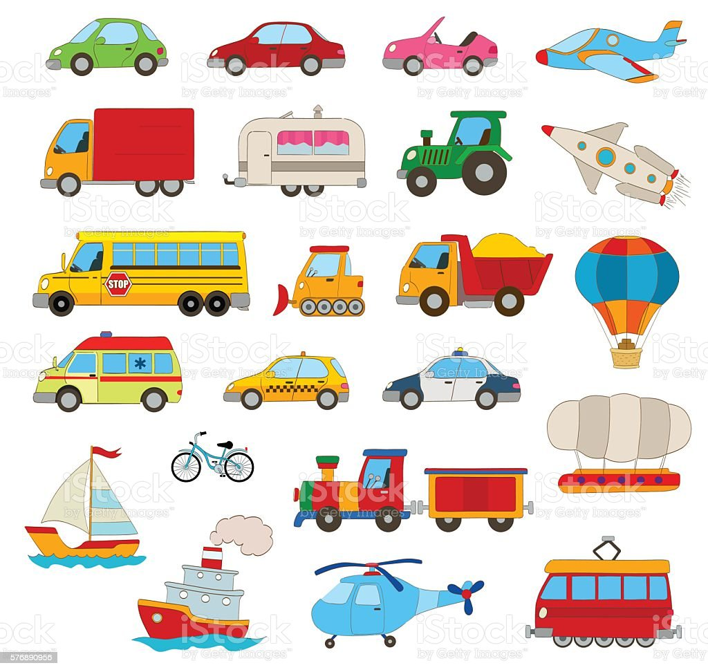 Set Of Cartoon Vehicles Stock Vector Art & More Images of Airplane ...