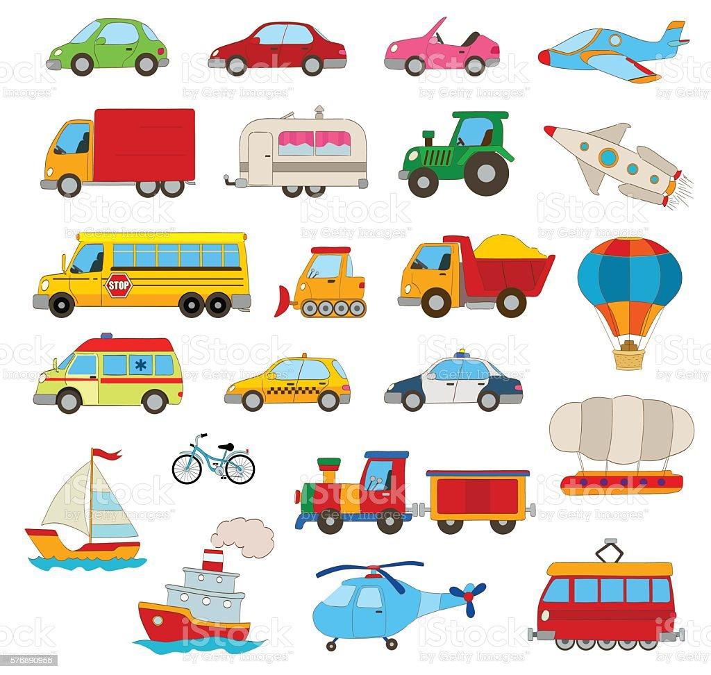 set of cartoon  vehicles