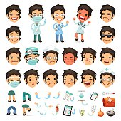 Set of Cartoon Woman Doctor Character for Your Design or