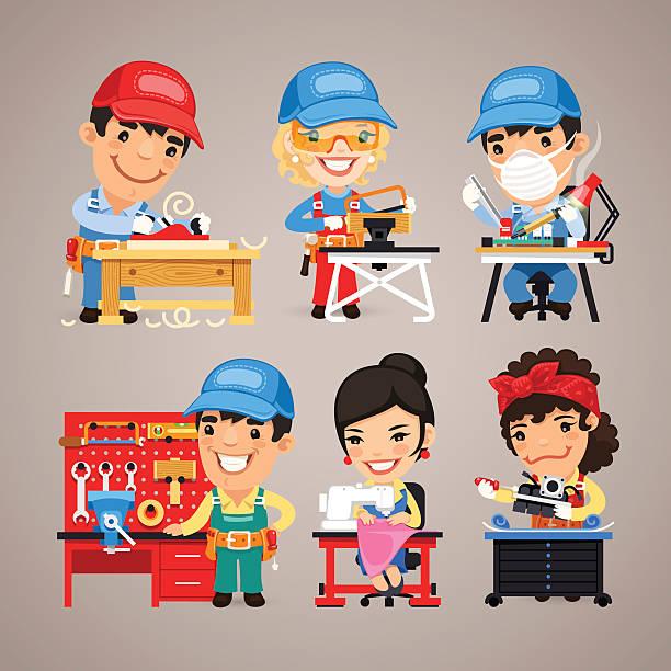 bildbanksillustrationer, clip art samt tecknat material och ikoner med set of cartoon workers at their work desks - arbeta köksbord man