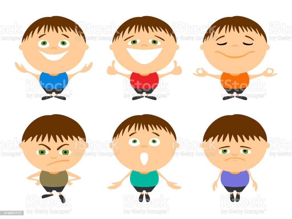 Para Niños De Dibujos Animados Caras Diferentes: Ilustración De Conjunto De Hombre Joven De Dibujos
