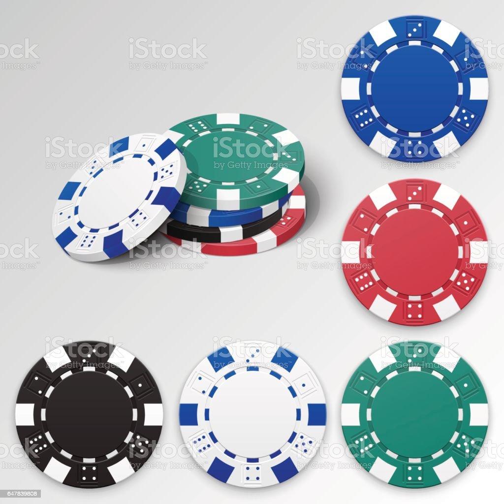 Set of casino chips vector art illustration