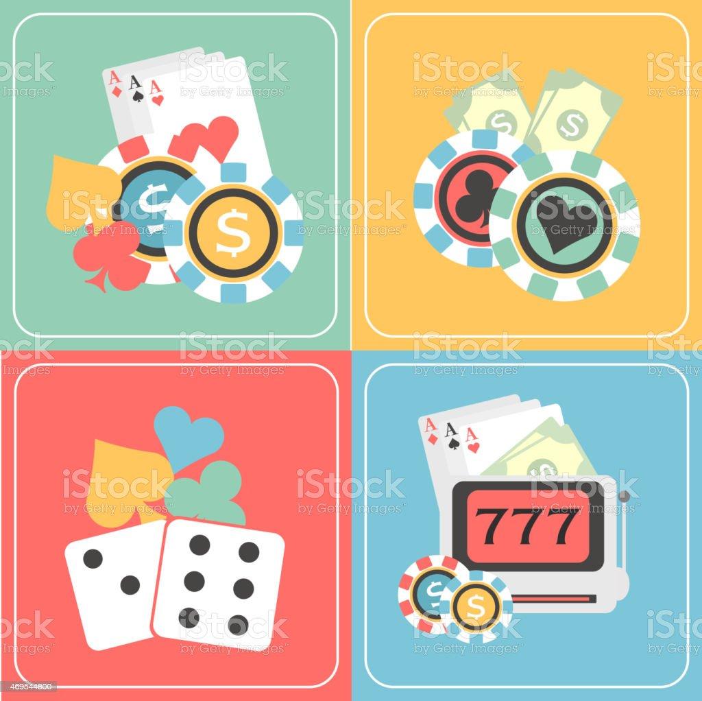 Set of Casino elements. vector art illustration