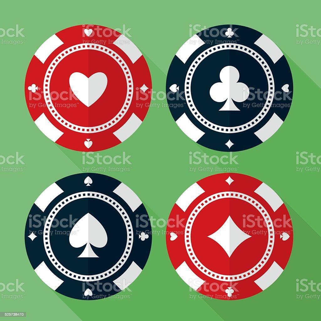 Set of casino gambling chips vector flat icons vector art illustration