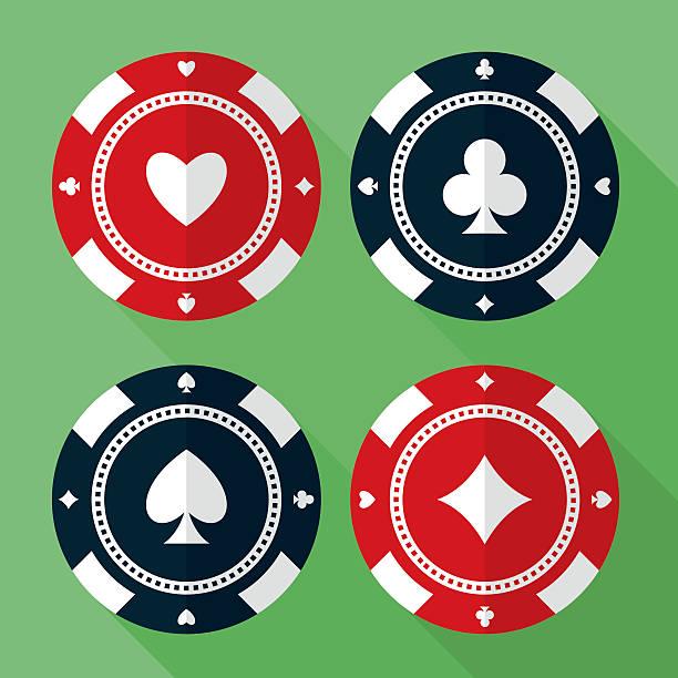 Set of casino gambling chips vector flat icons Set of casino chips vector flat icons. Gambling chips flat vector symbols. Chips for casino games vector flat design. Casino chips EPS8 vector illustration. gambling chip stock illustrations