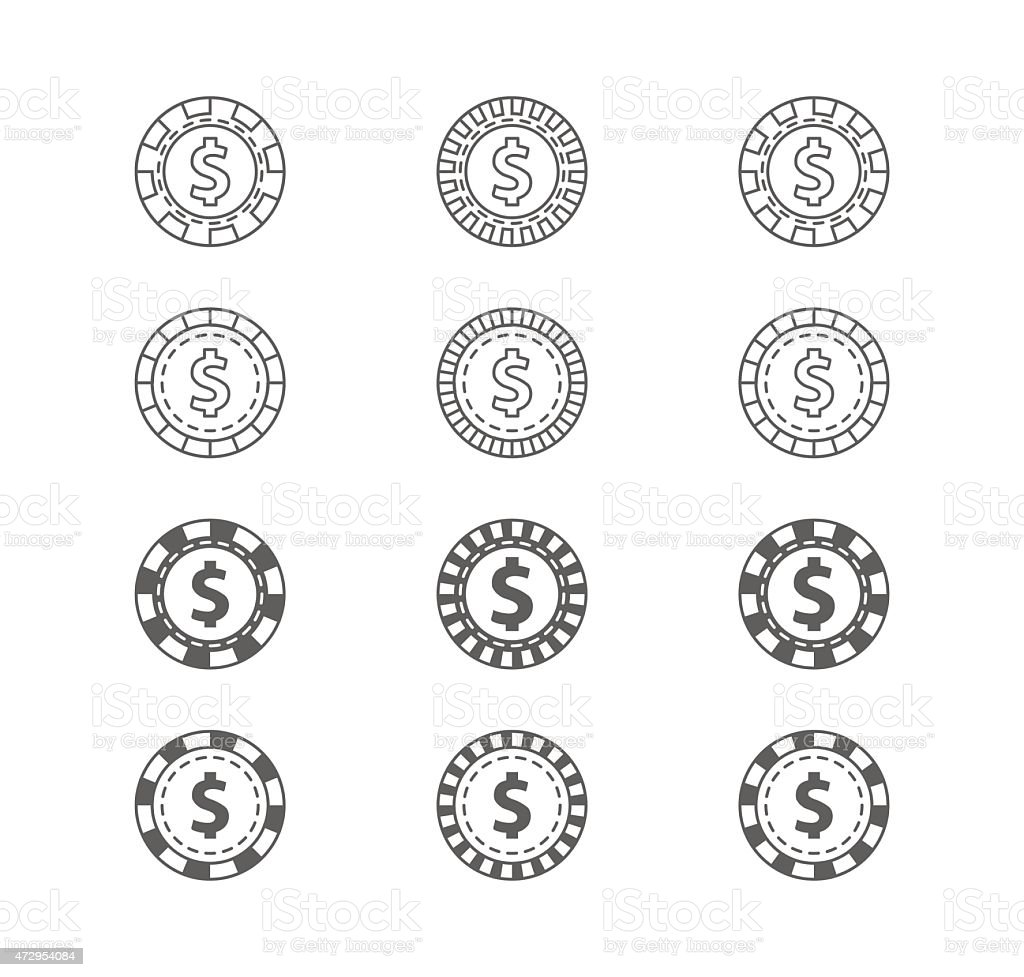 Set of casino gambling chips vector art illustration
