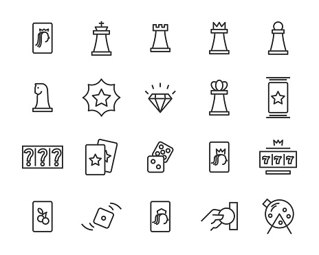 Set Of Casino Game Vector Line Icons Such As Blackjack