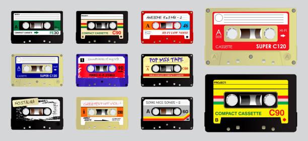 ilustrações, clipart, desenhos animados e ícones de conjunto de áudio retro da gaveta. - fita cassete