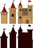 Set of castle building illustration