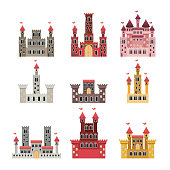 set of castles of fairy tales in white background