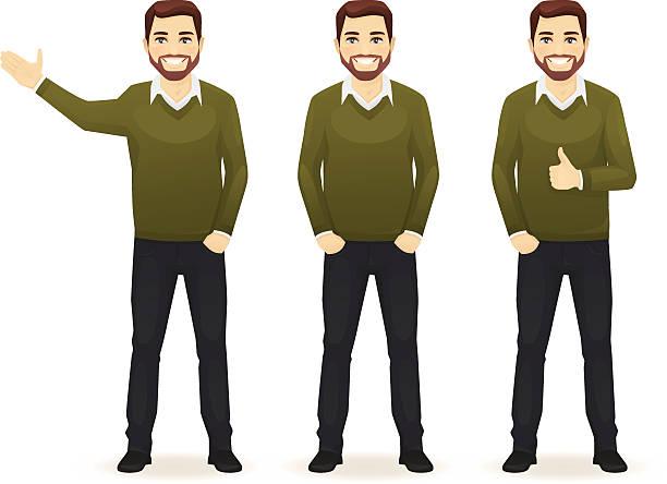 ilustrações de stock, clip art, desenhos animados e ícones de conjunto de casuais homem de negócios - homem casual standing sorrir