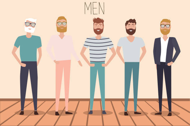 set of casual men characters - old man standing background stock illustrations, clip art, cartoons, & icons