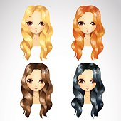 Vector illustration of casual wave hair styling in different colours for woman