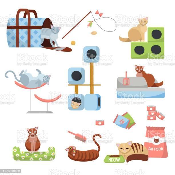 Set of cat accessories cats scratching post house bed food toilet vector id1176310133?b=1&k=6&m=1176310133&s=612x612&h=xrwurt9bszqf0ovpvmplr2sjtddkevcmbkg4nw4spce=