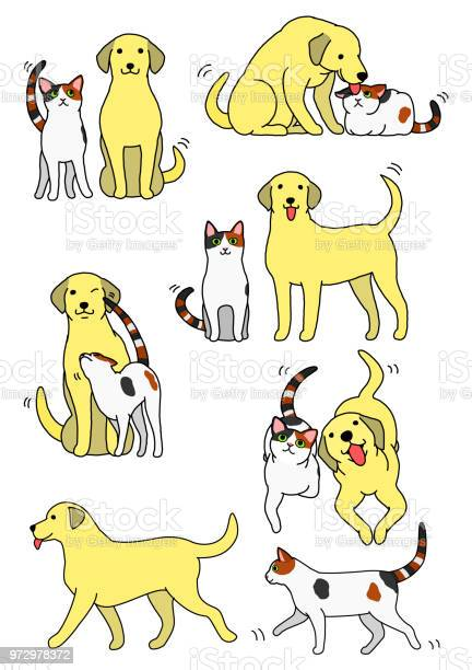 Set of cat and dog pairs vector id972978372?b=1&k=6&m=972978372&s=612x612&h=hdwj naq7mwij7uqzl9zvk dindsagffypcwieaunsc=