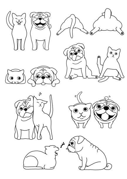猫と犬のペアのセット ベクターアートイラスト
