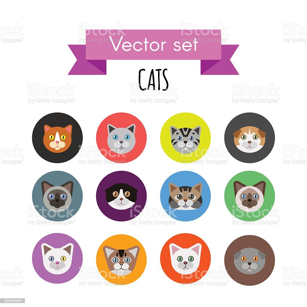 Set of cat icons vector art illustration