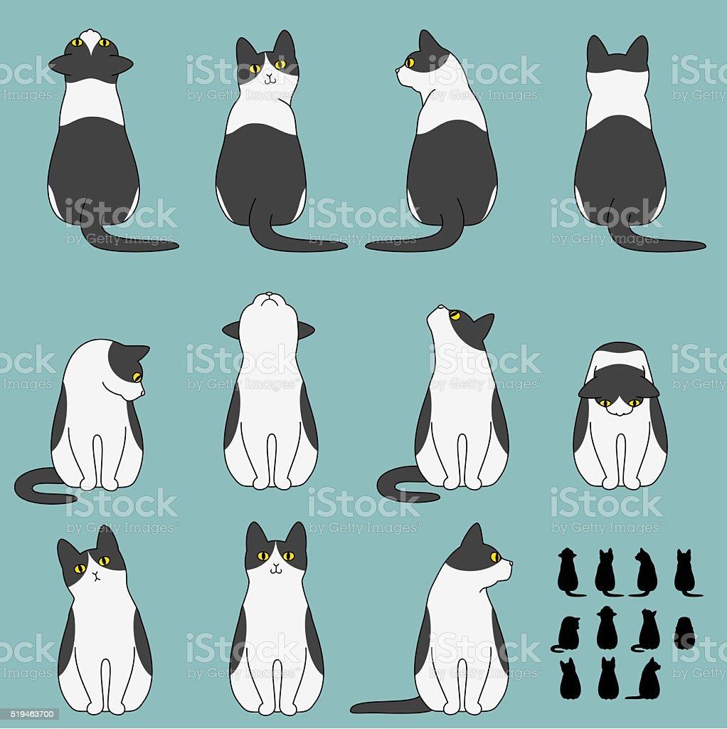 のセット猫ラウンジのポーズ ベクターアートイラスト