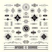 Set of catchwords ampersands in geometric shape retro vintage frame