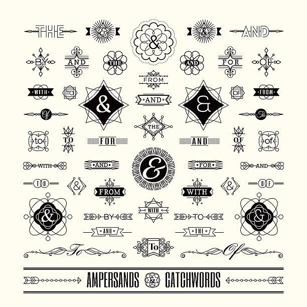 stockillustraties, clipart, cartoons en iconen met set of catchwords ampersands in geometric shape retro vintage frame - borden en symbolen